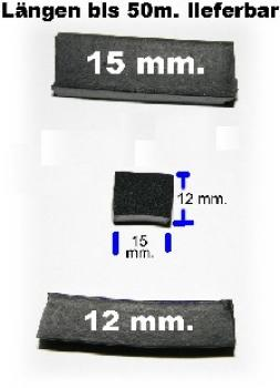 Moosgummiprofil, EPDM, 12x15mm.